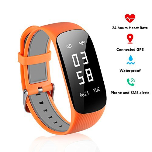 Fitness Tracker With Heart Rate Monitor - Real Time Heart Rate Tracker Bluetooth Pedometer With Sleep Monitor GPS Smartwatch for Iphone 7 7 Plus 6 Samsung S8 and Android IOS Smartphones(Orange)