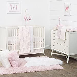 Dwell Studio Beautiful Boheme Peacock/Feathers 3 Piece Nursery Crib Bedding Set, Pink/Gray/White