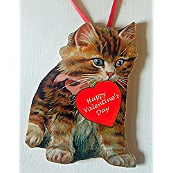 Valentine Kitty Ornament Handcrafted Wood, Tabby Cat Lover Gift, Pink Ribbon Bow, Personalized Valentine Card Magnet, Boyfriend Husband Gift