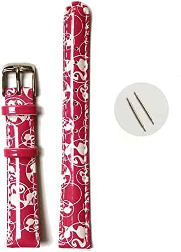14mm Kid's Padded Straps Band Magenta Print white Cartoons Pattern USWB1015A14FB