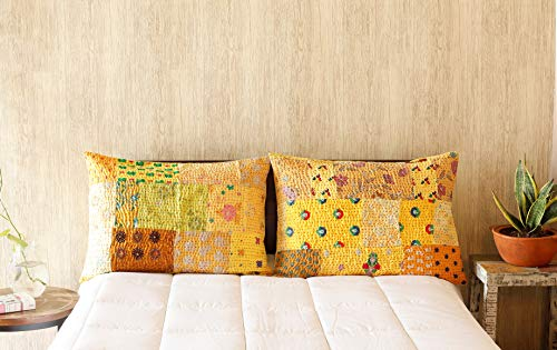 HANDICRAFT-PALACE Indian Ethnic Hand Embroidery Decorative Silk Pillow Cushion Cover Khambadiya Patchwork Pillow Sham Bed Throw Set of 2 Pc Size 20 X 28 Inches (Yellow) ()