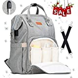Mommy Diaper Backpack Bag Lychee 20L Large Size Multi-Function Baby Diaper Backpack Outdoor Travel Diaper Nappy Organizer Tote Bags for Shoudler Bags for Mommy and Daddy (Grey)