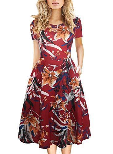 Vintage Dresses Women Fit and Flare Summer Ladies 50 60s Wear to Work Casual Party Midi Tea Dress for Teen Juniors Knee Length 162 Red M