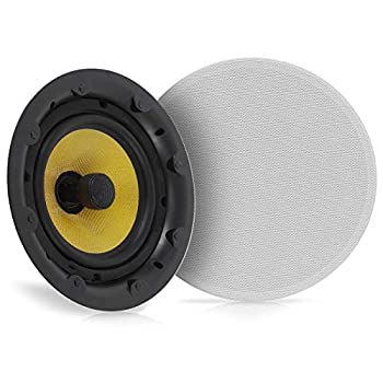 "Image of 8"" Ceiling Wall Hi-Fi Speakers - 2-Way Full Range Speaker (Pair) Built-in Electronic Crossover Network Flush Mount Design w/ 55Hz - 22kHz Frequency Response 360 Watts & Magnetic Grills - Pyle PDIC88FG Ceiling & In-Wall Speakers"