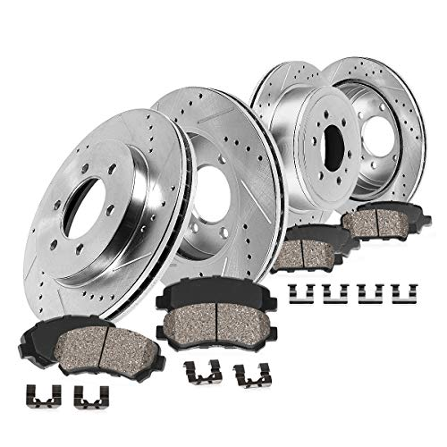 Callahan CDS02851 FRONT 290mm + REAR 300mm D/S 6 Lug [4] Rotors + Ceramic Brake Pads + Clips [ 2001-2007 Montero V6 ] (Montero Front Brake)