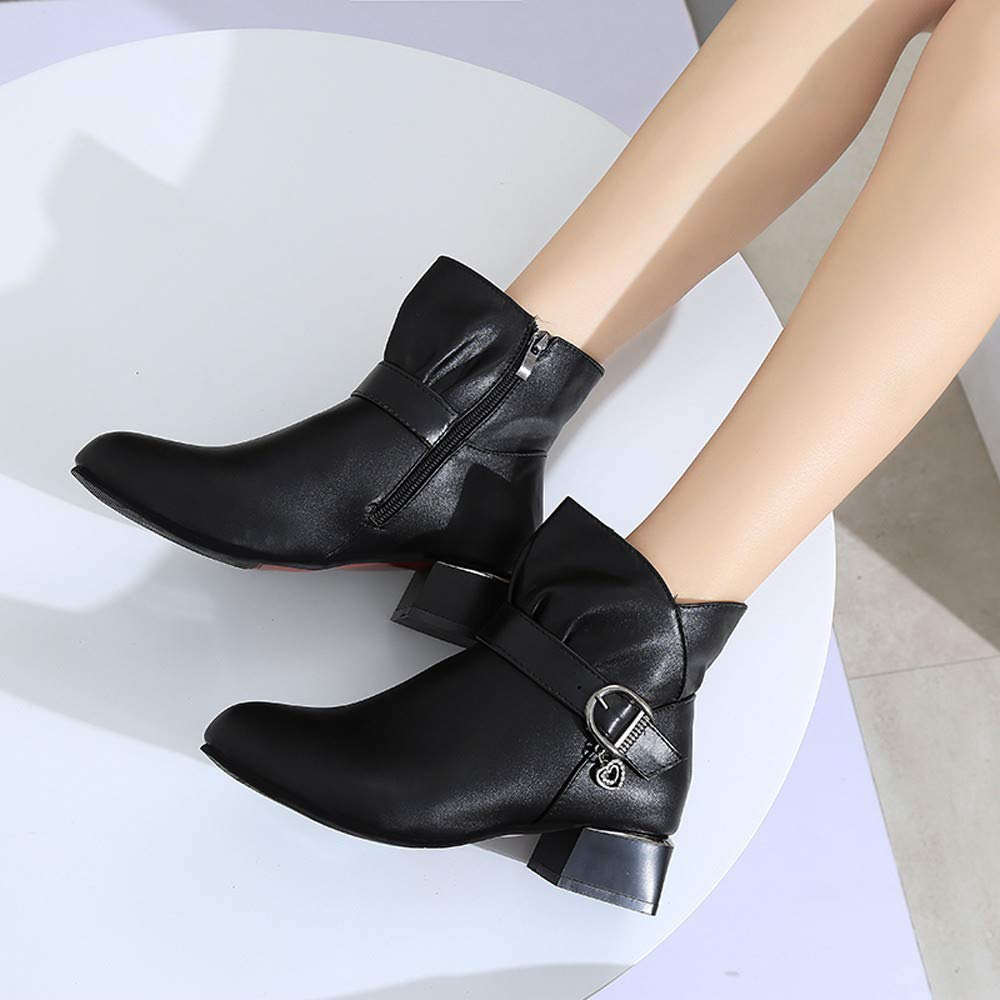 Women Square Heel Buckle Strap Leather Zipper Warm Boots Shoes Ankle Boot AIMTOPPY