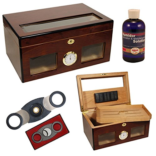Set Gift Cigar Humidor Bravo for 120 Cigars/Perfect Cutter/Humsol (Crafters Cuban Humidor)