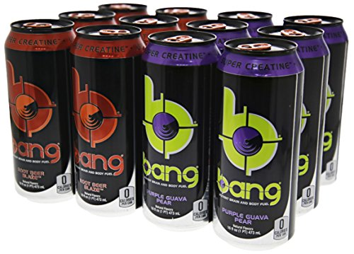 VPX Bang Variety Pack Purple Pear Guava and Root Beer 12 per Case - 16 fl oz (1 PT) 473 ml (Energy Pear)