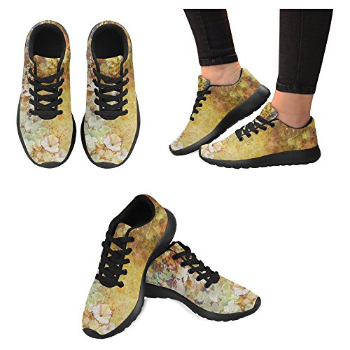 Running Walking Shoes Go Lightweight Flowers Casual Comfort Green Multi Sneaker Running Womens White and Leaves Jogging Soft Watercolor Easy 1 InterestPrint Painting P0Efg