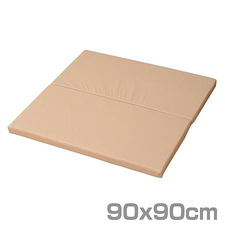 山善(YAMAZEN) プレイマット 90×90cm 正方形 2つ折りタイプ ベージュ IRM-9090F2B(BE)
