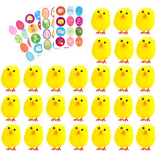 Pack Chick (TUPARKA 36Pcs Easter Chenille Chicks Cute Fully Yellow Easter Chicks Baby Chicks with 4 Sheet Easter Stickers for Kids, Easter Egg Bonnet Decoration)