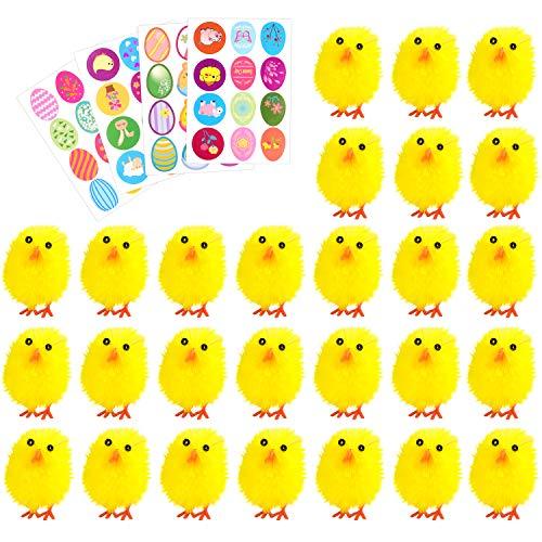 TUPARKA 36Pcs Easter Chenille Chicks Cute Fully Yellow Easter Chicks Baby Chicks with 4 Sheet Easter Stickers for Kids, Easter Egg Bonnet Decoration -
