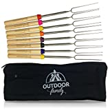 Outdoor Family Marshmallow Roasting Sticks: Set of (8) 32 inch Roasting Sticks, Extending and Telescoping Smores Skewers and for the Campfire