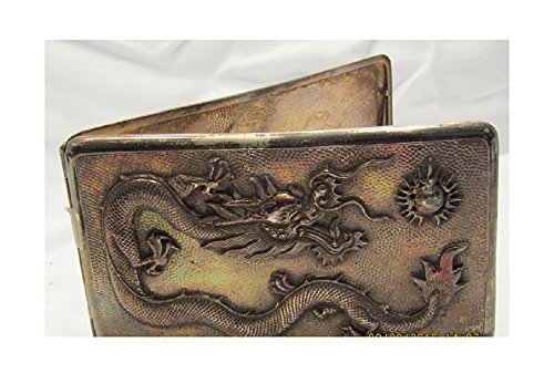 Sterling Silver Repousse Dragon Embossed Cigarette Box Card Case Vintage Rare by RB POOR (Image #2)