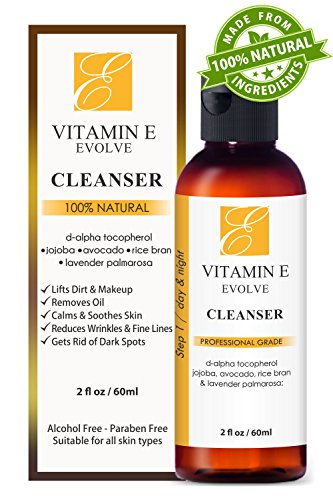 100% Natural Vitamin E Facial Cleanser. Best ever face wash for dry to oily skin. Anti-acne & anti-blemish clearing cleansers better than soap