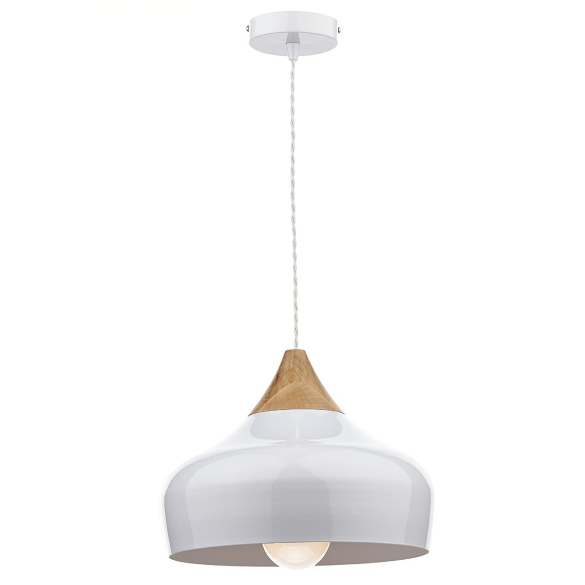 4daa30390932 Dar Lighting Gaucho Single Light Ceiling Pendant in a White Finish with Wood  Detail: Amazon.co.uk: Lighting