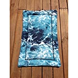 Blue Dog Crate Pad with Gentle Ocean Waves Kennel Mat Nautical Pet Bedding Cat Mat Fits 24x36 Kennels Washable