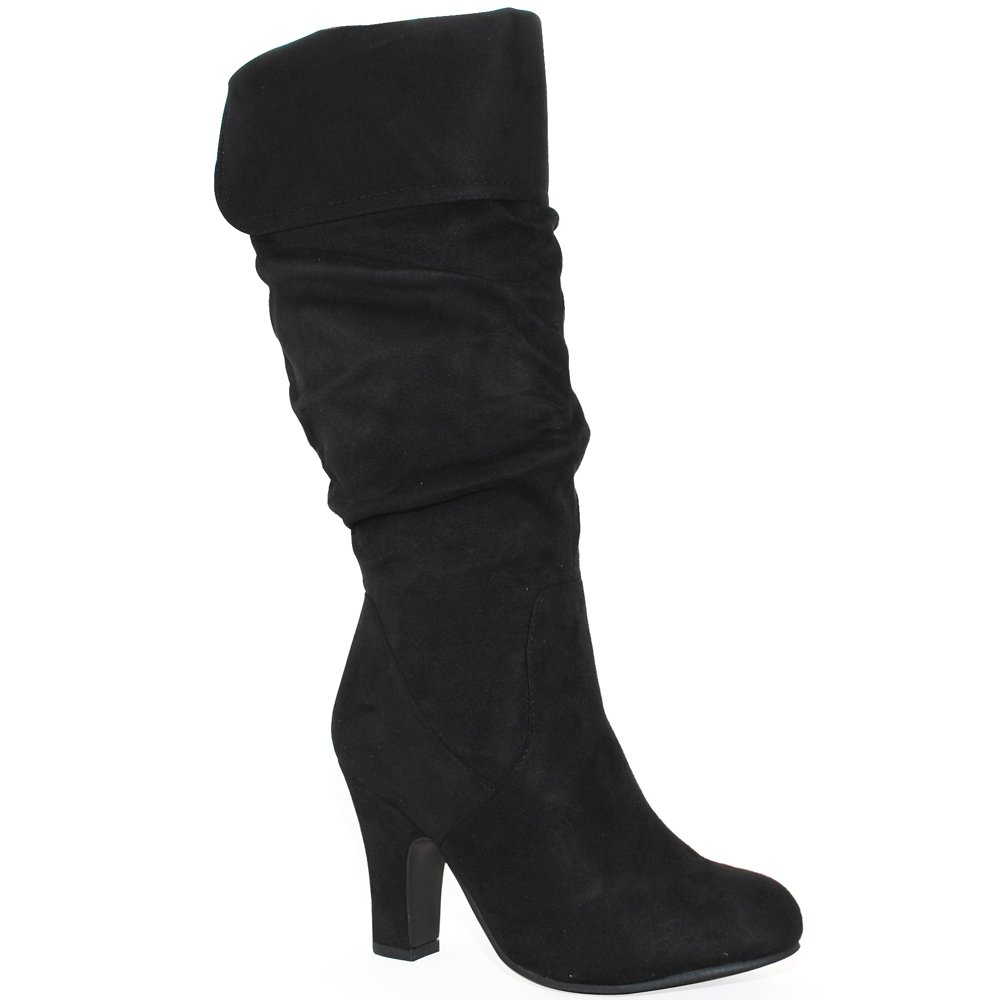 Women's Black Fold Down Pull On Mid-Heel Costume Boot - DeluxeAdultCostumes.com