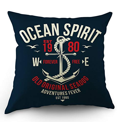 Jidmerrnm Nautical Throw Pillow Cover Ocean Spirit Anchor Quote Cotton Linen Decorative Pillow Case 18 x 18 Inch Standard Square Cushion Cover for Sofa Bedroom Men Women Kids Navy Blue White Red ()
