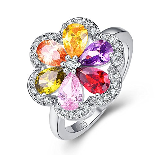 Multi Cluster Cut - Veunora 925 Sterling Silver Gorgeous Multi-Stones Flower Cluster Filled Ring Size 7