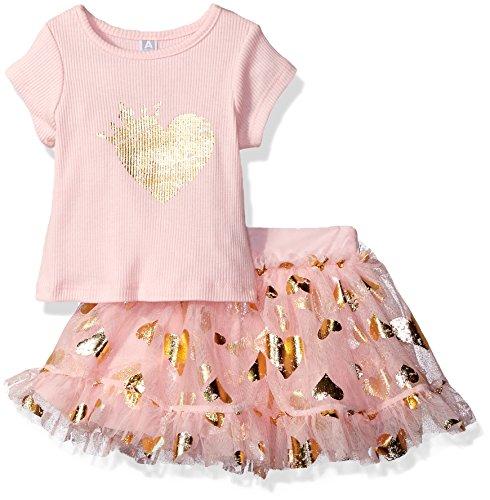 Amy Coe Baby Girls' Queen Heart 2 Piece Skirt Set, Rose Shadow, 24 Months