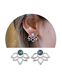 Elensan Women's Simple Turquoise Lotus Stud Earrings Fashion Jewelry for gilrs