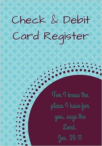 check debit card register bonus notes area 7 x 10 inches