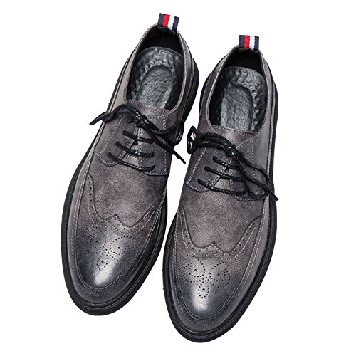 (MHB Men's Casual Dress Shoes, Modern Classic Brogue Perforated Lace Up Wingtip Oxfords 10in Gray)