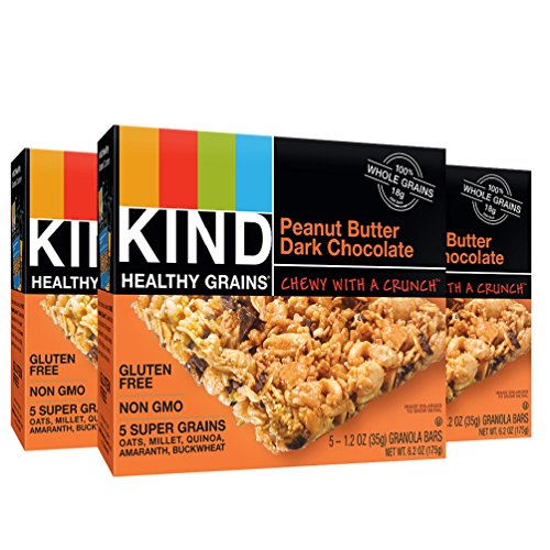 KIND Healthy Grains Granola Bars, Peanut Butter Dark Chocolate, Gluten Free, 6.2 Ounce, (Pack of 3)