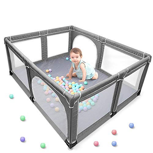 Baby Playpen, Extra Large Playard, Indoor & Outdoor Kids Activity Center with Anti-Slip Base, Sturdy Safety Play Yard with Super Soft Breathable Mesh, Kid