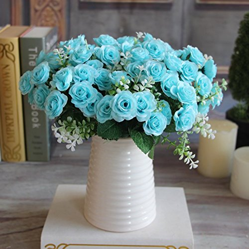 Pretty Charming Delightful 15 Buds 1 Bouquet Mini Rose Artificial Silk Flower Bride Bridal Home Decal