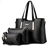 Women Handbag,Women Bag, Shoulder Bag Purse KINGH 3 Piece Tote Set Weave PU Leather 037 Black