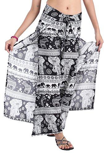 CandyHusky Women's High Waist Split Dance Yoga Palazzo Wide Leg Warp Pants Rayon (S/M/L, Elephant 10 Black) -