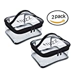 2 Pcs/Pack TUZZ Clear Cosmetic makeup organizer bag,Transparent travel toiletry bag with handle carry-on Airport Airline Sundry bag for men women