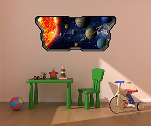 48'' Space Ship Window Instant View SOLAR SYSTEM #5 SPACESHIP Wall Sticker Kids Decal Baby Room Home Mural Art Décor Graphic LARGE by Decal up the Wall Graphics