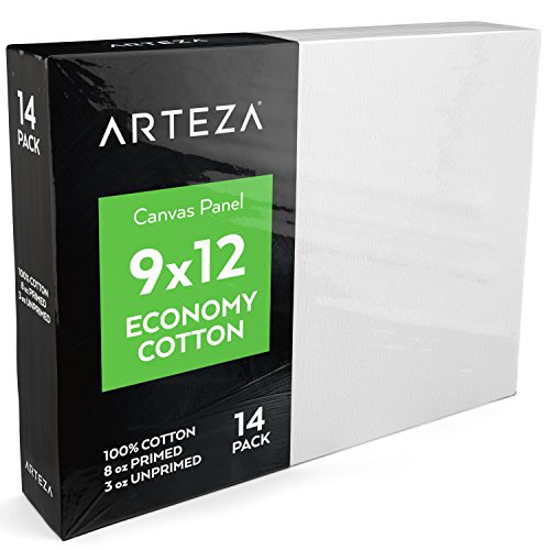 "Arteza 9x12"" White Blank Canvas Panel Boards, Bulk Pack of 14, Primed, 100% Cotton for Acrylic Painting, Oil Paint & Wet Art Media, Canvases for Professional Artist, Hobby Painters & Beginners"