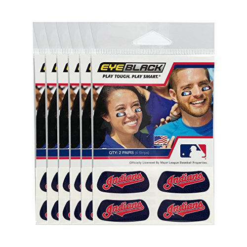 (24 Strips) Cleveland Indians MLB Eye Black Anti Glare Strips, Great for Fans & Athletes on Game Day