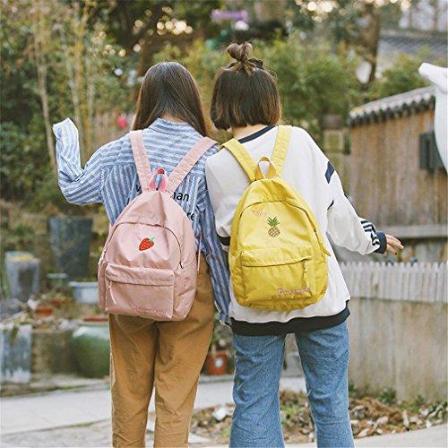 D'école Adolescentes Preppy Sac À Pour Mignon Dames Style Fruits Dos Mode Sacs Femmes Sacs Broderie Filles Haoling Strawberry Yellow qv7xpnC