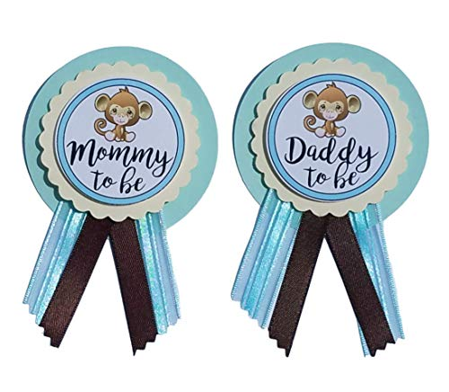 (Mommy & Daddy to Be Monkey Pins Baby Shower Blue & Brown pin wear at Baby Shower, Baby Sprinkle)