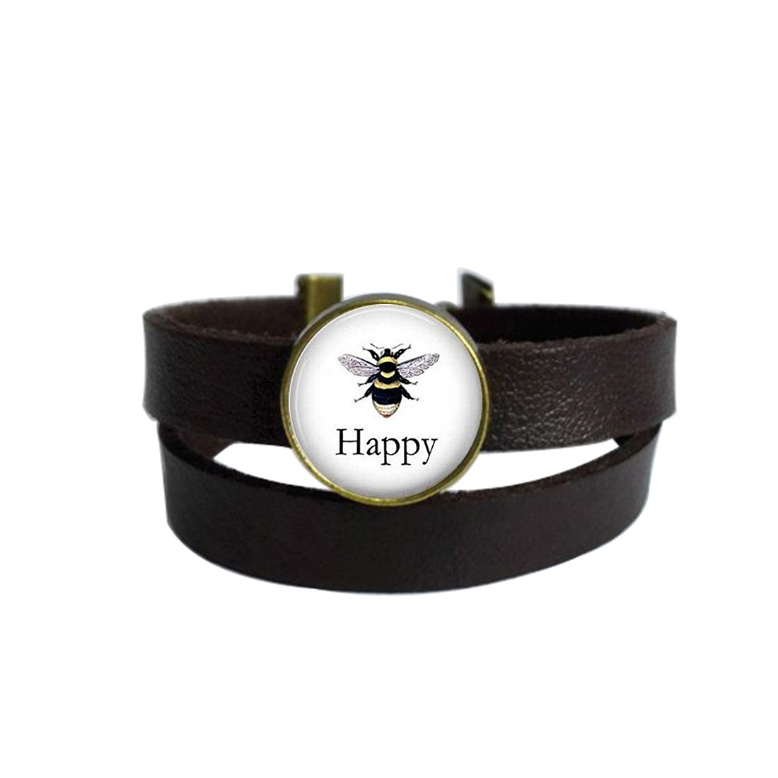 LooPoP Vintage Punk Dark Brown Leather Bracelet Bee Happy Vintage Bee Lithograph Honeybee Belt Wrap Cuff Bangle Adjustable