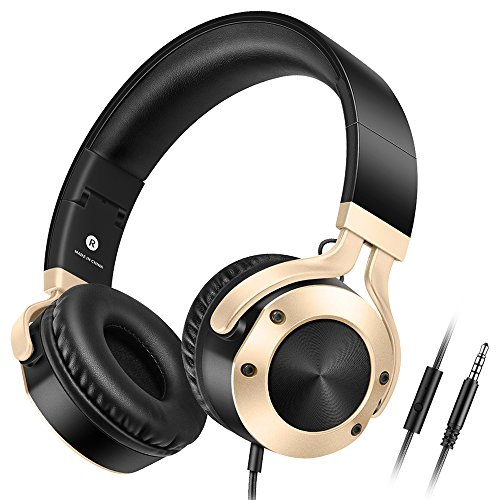 Headphones with Microphone Over Ear Stereo Bass Foldable Lightweight Wired Headphones, Computer Cellphone TV Laptop Tablet Small Headset for Women Men Kids Boys Girls, Sound Intone, Gold Black