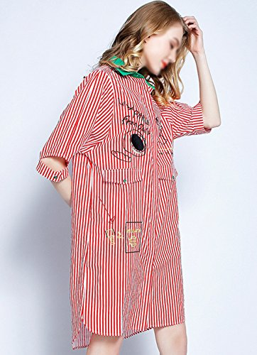 Aisa Red Women's Stripes Dress Blouse Embroidered Shirt Casual Large Cotton Cartoon Size Shirt CErqC