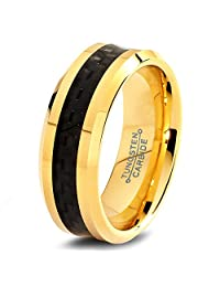 Tungsten Wedding Band Ring 6mm for Men Women Comfort Fit 18k Yellow Gold Black Carbon Fiber Brushed Lifetime Guarantee