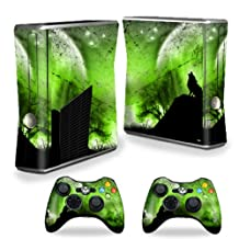 Mightyskins Protective Vinyl Skin Decal Cover for Microsoft Xbox 360 S Slim + 2 Controller skins wrap sticker skins Howling Wolf
