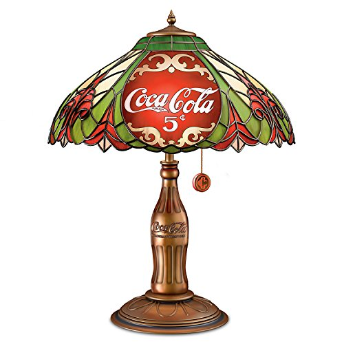 Bradford Exchange The COCA COLA Classic Elegance Stained Glass Table Lamp with Contour Bottle Base