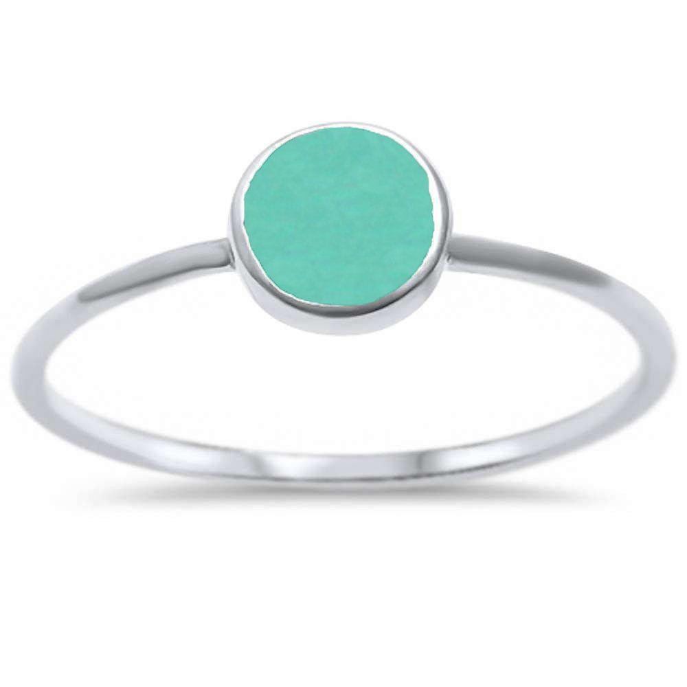Oxford Diamond Co Sterling Silver Round Simulated Turquoise Ring Sizes 4-10 (11)