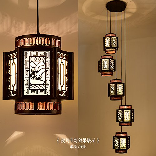 Modern Chinese solid wood chandeliers living room lights antique ...