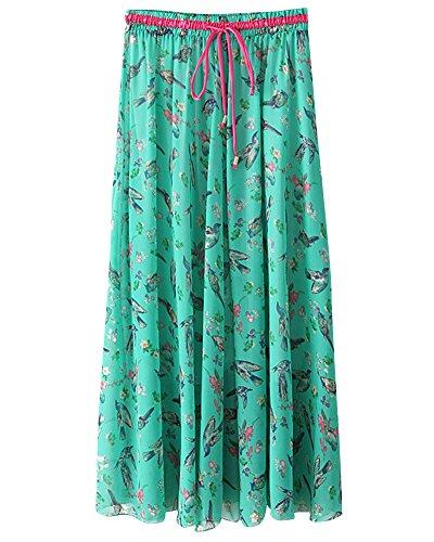 ZhuiKunA Jupe Maxi Femme Fleurs Impression Boho Plage Plisse Mousseline Grand Pendule Vert 1