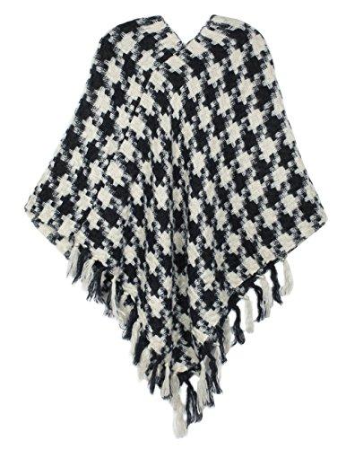Crochet Jewel Neck Sweater (Dahlia Women's Knitted Poncho - V Neck Houndstooth Tassel Cape - Black)