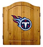 Imperial Officially Licensed NFL Dart Cabinet Set with Steel Tip Bristle Dartboard and Darts, Tennessee Titans